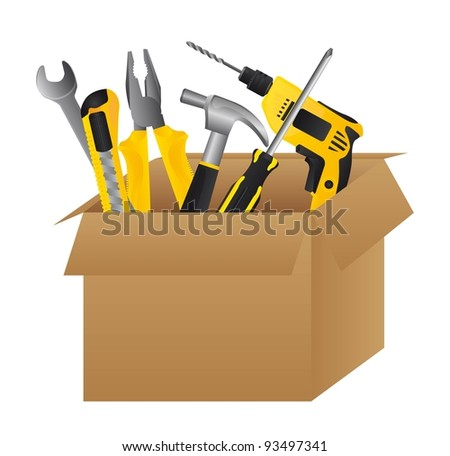 Cardboard tool box on white background, vector illustration - stock vector