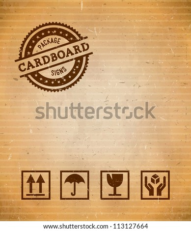 Cardboard with set of package signs and stamp - stock vector