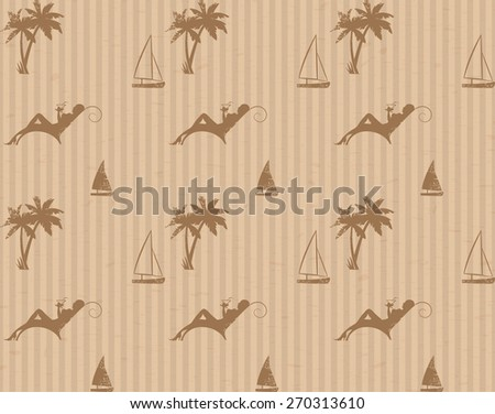 Cardboard with Vacation Stamps. Vector Seamless Pattern for Your Design. - stock vector