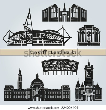 Cardiff landmarks and monuments isolated on blue background in editable vector file - stock vector