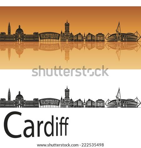 Cardiff skyline in orange background in editable vector file - stock vector