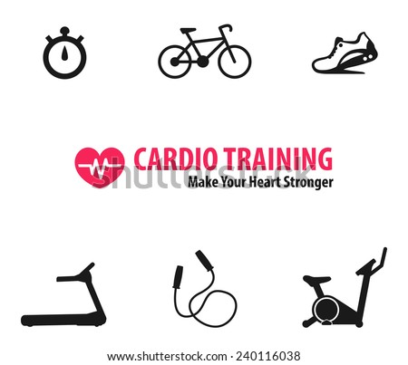 Cardio Training flat icons vector illustration, eps10, easy to edit - stock vector