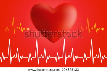 Cardiogram and heart. Volume of the heart and cardiogram on red background.