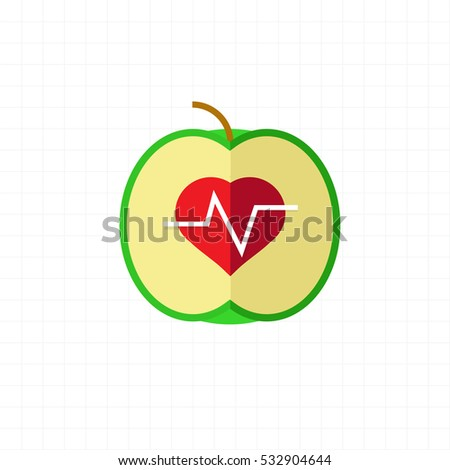 Cardiogram apple. Health care and healthy living concept.