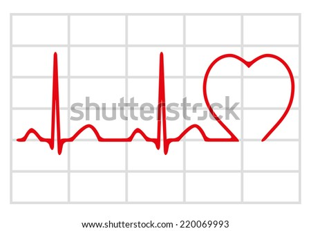 Cardiogram icon isolated on white background, vector illustration
