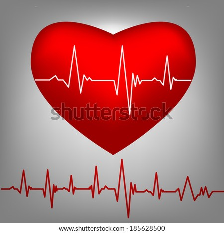 Cardiogram on red heart shape - stock vector