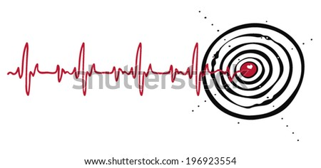 Cardiogram with a target in the heart - stock vector