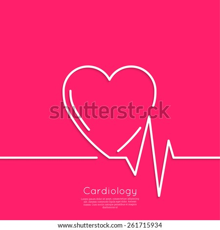 Cardiogram with heart. Logo Cardiology Medical Center. Outline. minimal. red - stock vector