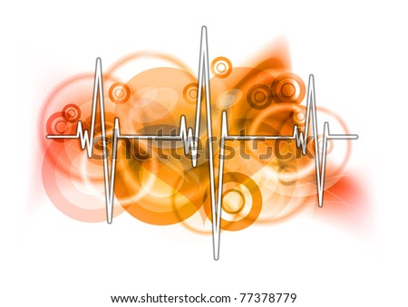 cardiograph on the red background - stock vector