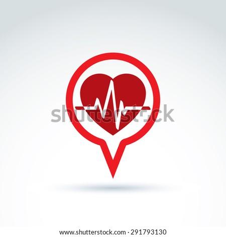 Cardiology cardiogram heart beat icon, vector conceptual special icon for your design. - stock vector