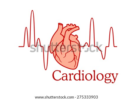 Cardiology concept with an ECG tracing of the heart beat and heart in a healthcare and medical concept