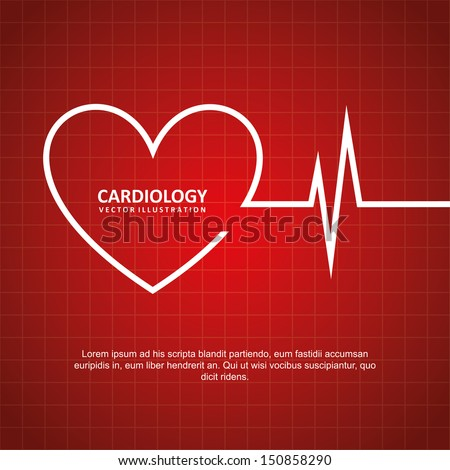 cardiology design over red background vector illustration  - stock vector