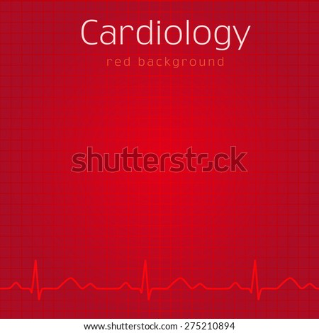Cardiology design over red background vector illustration. Cardiology red background - stock vector