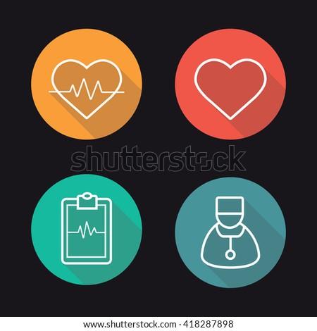 Cardiology flat linear long shadow icons set. Heart pulse analysis, heart shape, ecg curve on clipboard and cardiologist. Vector line symbols - stock vector