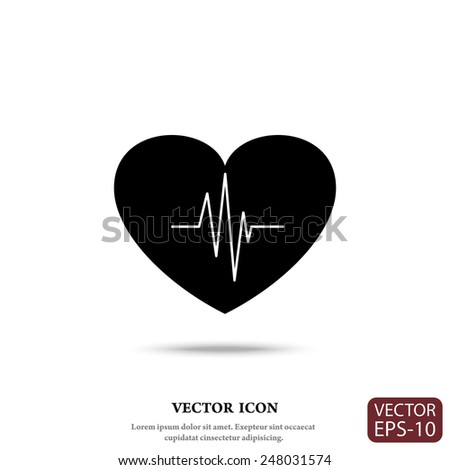 Cardiology icon with heart and cardiogram, vector symbol. - stock vector