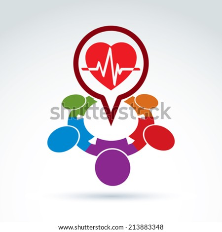 Cardiology medical and society cardiogram heart beat icon, medical organization, medical fund, vector conceptual special icon for your design. - stock vector