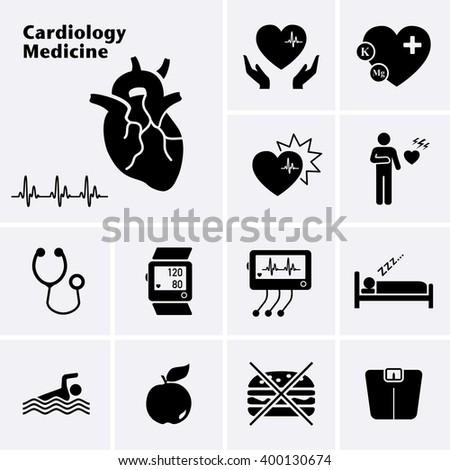 Cardiology Medicine Icons. Cardiovascular Diseases. Vector set - stock vector