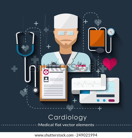 Cardiology set in flat style. Healthcare and medical concept.  Vector illustration - stock vector