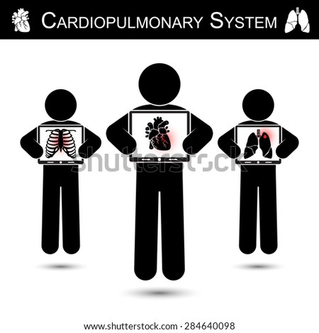 Cardiopulmonary System .  Human hold monitor screen and show imaging of Skeleton ( chest injury ) , Heart ( Myocardial Infarction ) , Lung ( Pulmonary Tuberculosis )    ( CPR concept ) - stock vector