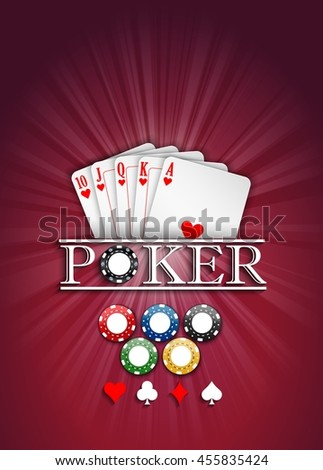Cards and casino chips on a red background.Vector