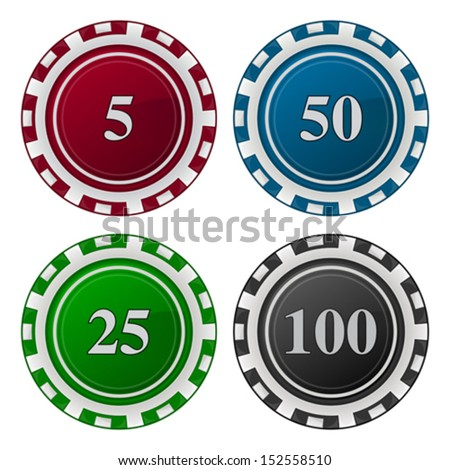 Cards Chips Poker with number - stock vector