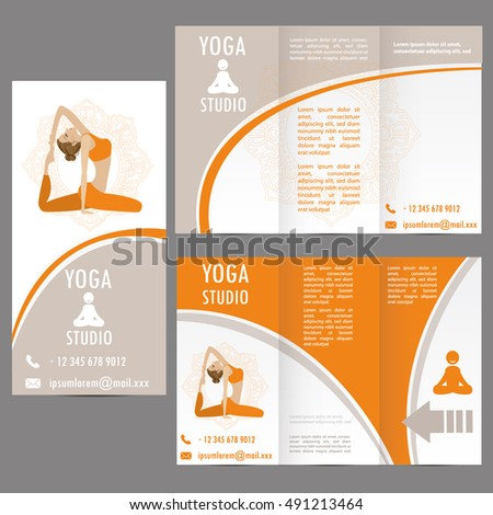 cards for Woman yoga studio , banner or brochure template , vector illustration