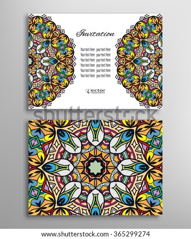 Cards or Invitations collection with Mandala ornament and floral geometric pattern. Vintage decorative design elements for fabric or paper print. Template for greeting card - stock vector
