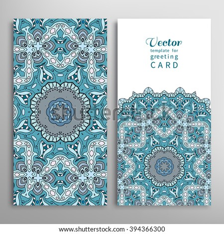 Cards or Invitations collection with Mandala round ornament elements, floral geometric pattern. Vintage decorative design for fabric or paper print - stock vector