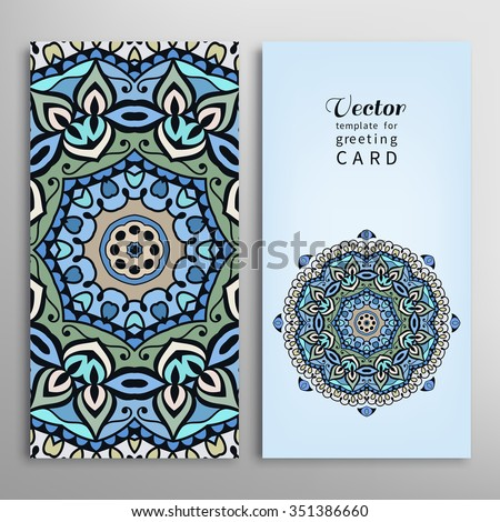 Cards or Invitations collection with Mandala round ornament, floral geometric pattern, colorful snowflake. Vintage decorative design elements for fabric or paper print. Template for greeting card. - stock vector
