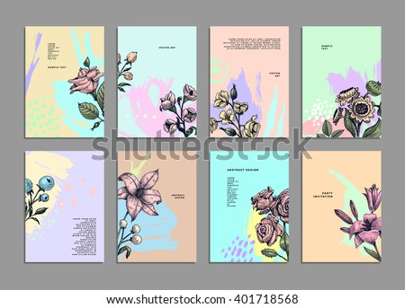 Cards Set with Herbs and Flowers. Botanical Vector Illustration. Engraving Retro Style for Placards, Posters, Invitations and Brochures Design - stock vector