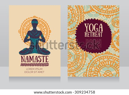 cards template for yoga retreat or yoga studio, can be used for Hinduism religious organization, vector illustration - stock vector