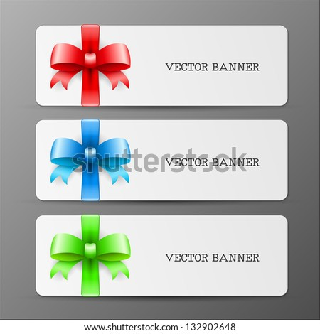 cards with big bow and ribbon in red green and blue colors eps10 illustration - stock vector