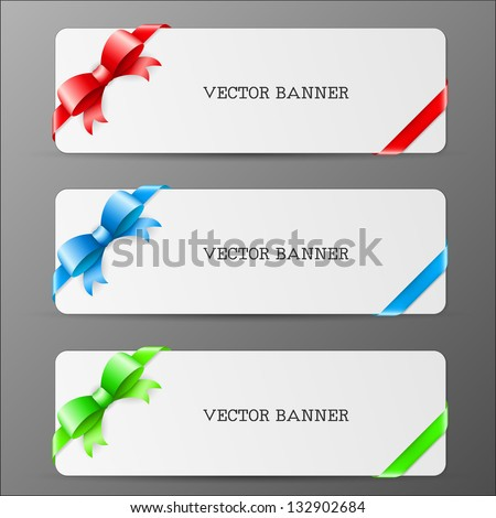 cards with bow and ribbon in red green and blue colors eps10 illustration - stock vector