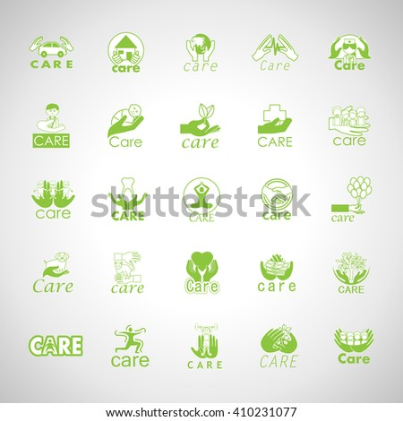 Care Icons Set-Isolated On Gray Background-Vector Illustration,Graphic Design. Healthcare Concept