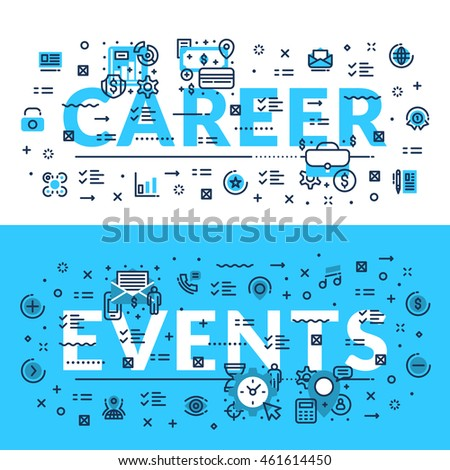 Career and Events modern heading, title, web banner. Horizontal colored in white and blue flat vector illustration.