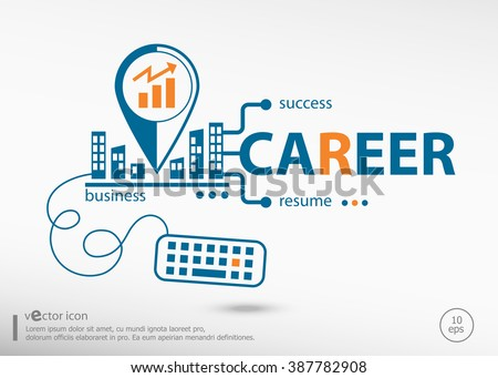 Career and marketing concept. Career concept for application development, creative process. - stock vector