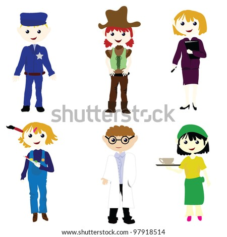 career cartoon boys and girls for career, fun, and others