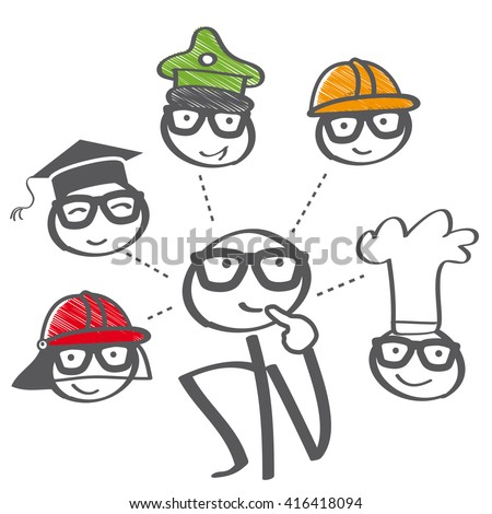 Career choice options - stick figure thinking of future education - stock vector