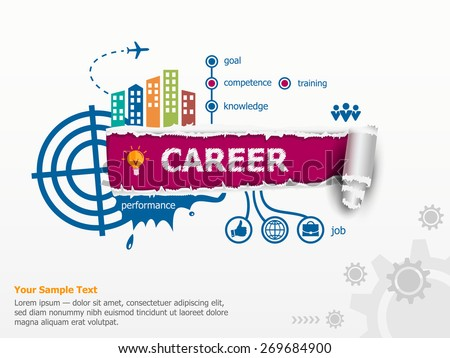 Career concept and breakthrough paper hole with ragged edges with a space for your message.  - stock vector