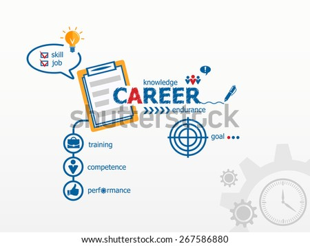 Career concept and notebook for efficiency, creativity, intelligence. Hand writing Career  with blue marker - stock vector