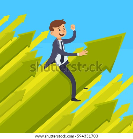 Career development design concept with smiling businessman on green growing arrow on blue background vector illustration