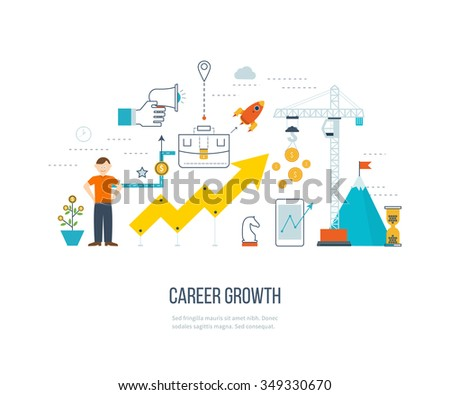 Career growth, selecting candidates, career ladder.  Financial strategy concept. Business development, strategic management, finance, market data analytics concept. Strategy for successful business. - stock vector
