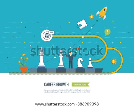 Career growth, selecting candidates, career ladder.  Financial strategy concept. Business development, strategic management, finance, banking, market data analytics concept.  - stock vector