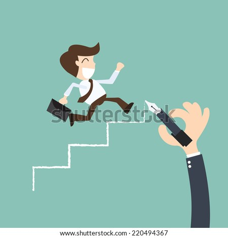 career planning - Businessman climbs the ladder of success