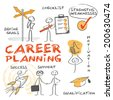Career planning. Chart with keywords  and hand-drawn figures - stock photo