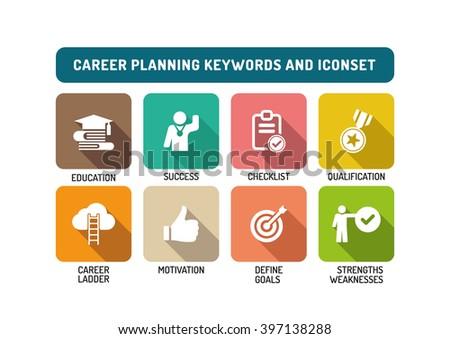Career Planning Flat Icon Set - stock vector
