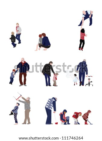 Careful fathers - design elements - stock vector