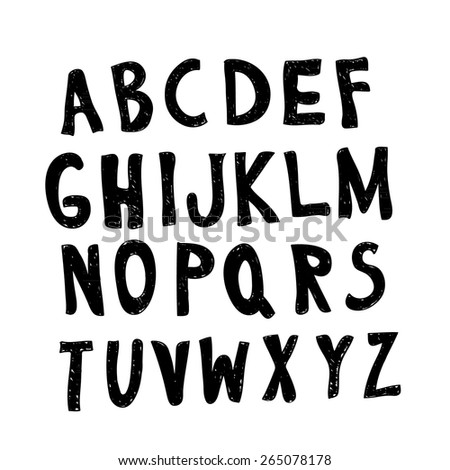 Careless sketch alphabet letters with strokes and scratches isolated on a white background. Elements for grunge design. Vector illustration - stock vector