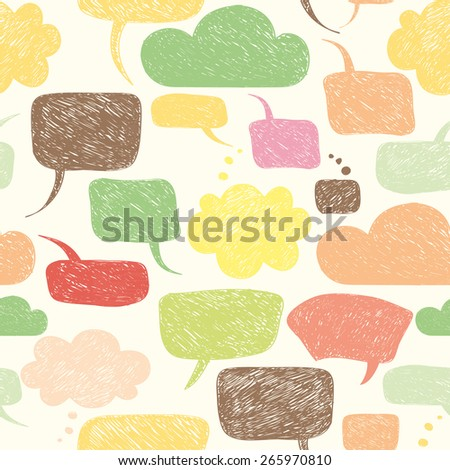 Careless speech bubble shapes. Vector illustration. Seamless pattern with warm pastel colors