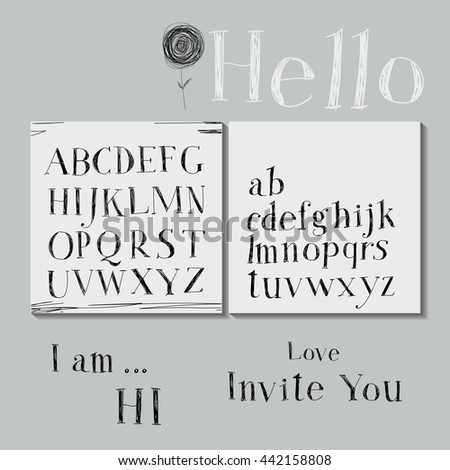 Careless style hand-drawing. Hand drawing alphabet.  - stock vector